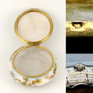 Antique French Kiln-Fired Enamel & Silver Hinged Box