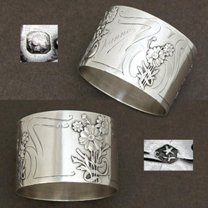 French sterling silver napkin ring Art Nouveau flowers antique