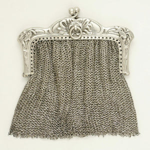 Art Nouveau French .800 Silver Chain Mail Mesh Chatelaine Purse