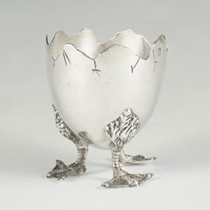 French Sterling Silver Figural Egg Cup, Duck Legs & Feet