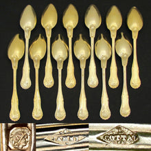 Load image into Gallery viewer, Antique French Sterling Silver Gilt Vermeil Tea or Coffee Spoons