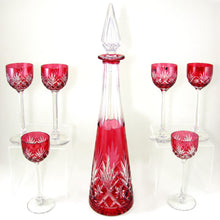 7pc French Saint Louis Cut Crystal Decanter Set, Massenet Pattern