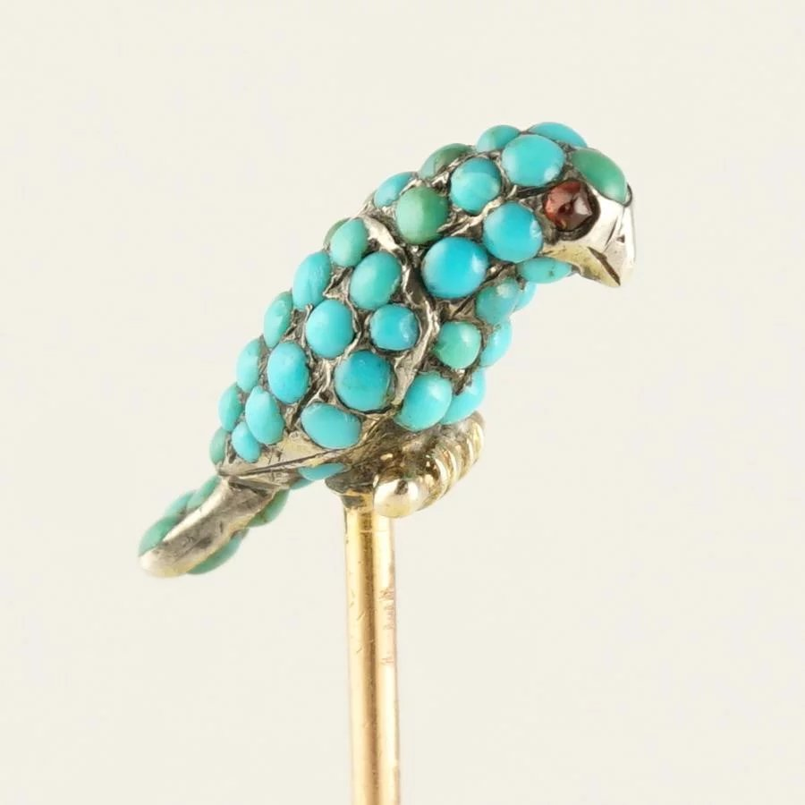 Victorian French 18K Rose Gold Turquoise Bird, Parrot, Silver Stick Pin Brooch, Garnet Eyes