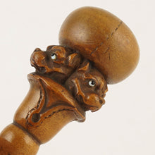 Load image into Gallery viewer, Antique Victorian Carved Wood Figural Wax Seal 3 Headed Dog Cerberus, Glass Eyes