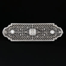 Load image into Gallery viewer, art deco 14k white gold filigree diamond brooch