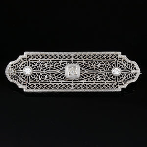 art deco 14k white gold filigree diamond brooch