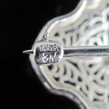 Load image into Gallery viewer, Art Deco Platinum & 14k White Gold Diamond Filigree Brooch Pin