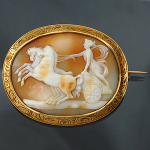 antique 18k yellow gold carved shell cameo brooch pin