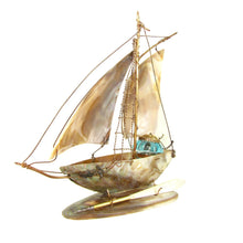 French mother of pearl inkwell, figural sailing boat, antiques decor
