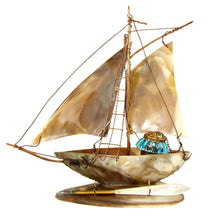 Load image into Gallery viewer, Antique French mother of pearl inkwell, Grand Tour souvenir, figural sail boat desk accessory