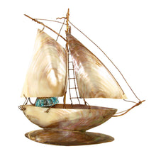 Load image into Gallery viewer, Antique French Napoleon III era inkwell, inkstand, in the form of a sailing boat