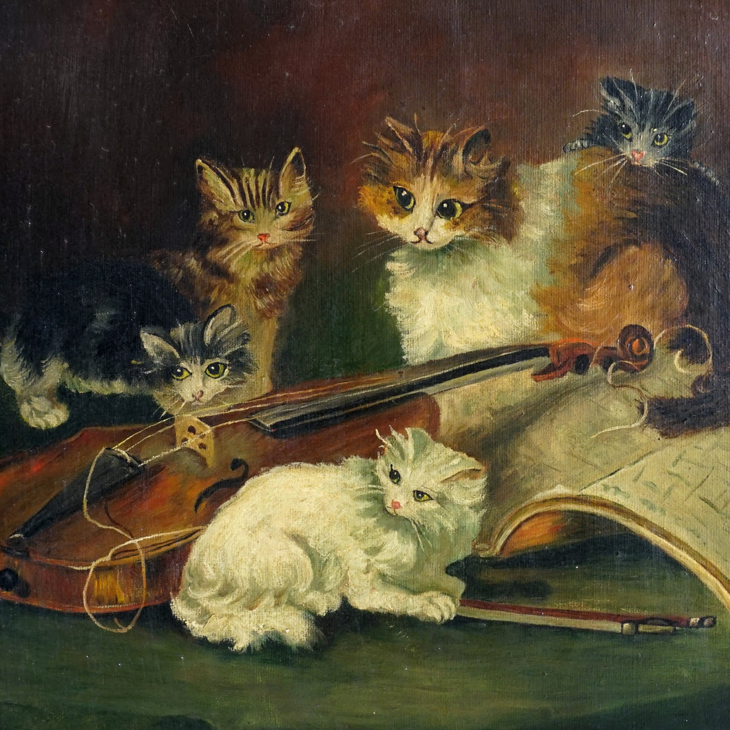 Signed French Oil on Canvas Portrait, Playful Kittens / Cat Genre Painting