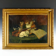 Load image into Gallery viewer, Signed French Oil on Canvas Portrait, Playful Kittens / Cat Genre Painting