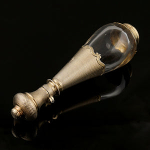 Antique French .800 Silver Gold Vermeil Perfume Bottle Glass Tear Drop Shaped Scent Bottle