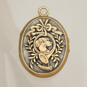 Antique French .800 Silver Photo Locket Pendant, Engraved Dog Portrait