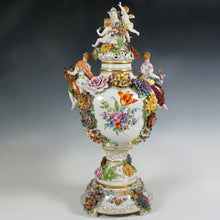 Load image into Gallery viewer, Large German Porcelain Urn Von Schierholz | Hand Painted Applied Flowers, Putti & Maiden Figures
