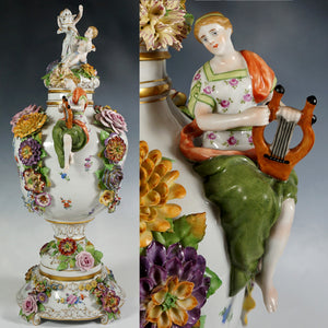 Large German Porcelain Urn Von Schierholz | Hand Painted Applied Flowers, Putti & Maiden Figures
