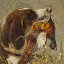 Load image into Gallery viewer, Antique German Hunting Scene Painting Moritz Müller (1841-1899) Munich Artist, Pointer Dog & Pheasant