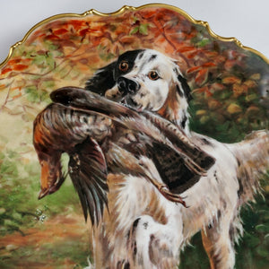 Antique French Limoges Porcelain Hand Painted Scene Hunting Dog & Pheasant Charger Plate, Artist Signed Roche