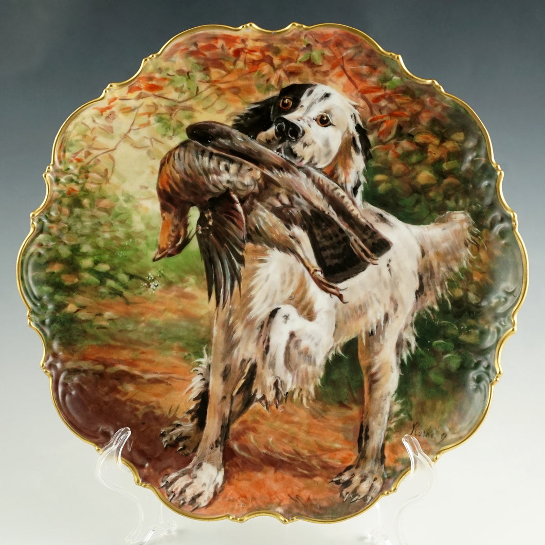 antique limoges porcelain plate hand painted hunting dog