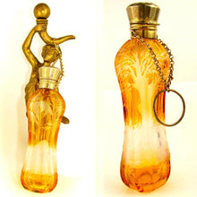 Load image into Gallery viewer, Antique Bohemian Cut to Clear Amber Overly Scent / Perfume Bottle Chatelaine, Dog & Bird Theme