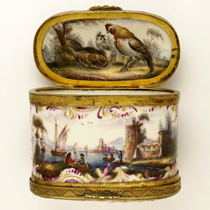 Meissen porcelain snuff box, hand painted rooster & harbor scenes