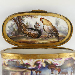 Meissen porcelain hand painted rooster snuff box