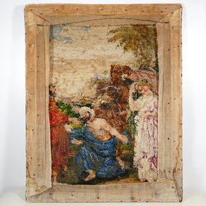 Petit Point Hand Done Needlepoint Tapestry Berlin Wool Needlework Wall Hanging Religious Biblical Scene