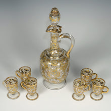 Load image into Gallery viewer, Moser Bohemian glass liquor service raised enamel