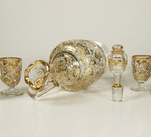 Load image into Gallery viewer, Antique Bohemian Moser Raised Gold Enamel Glass Liquor Service Decanter Cordials