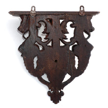 Load image into Gallery viewer, Antique Victorian Hand Carved Wood Wall Shelf Mount Bracket, Lion Face