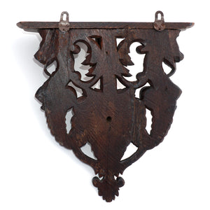 Antique Victorian Hand Carved Wood Wall Shelf Mount Bracket, Lion Face