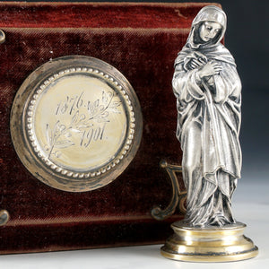 Antique .900 Silver Religious Virgin Mary Figural Wax Seal Desk Stamp, Original Box