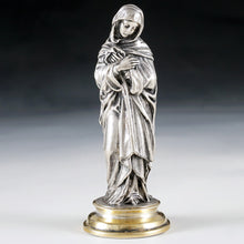 Load image into Gallery viewer, Antique .900 Silver Religious Virgin Mary Figural Wax Seal Desk Stamp, Original Box