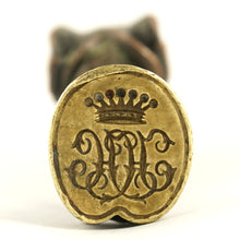 Load image into Gallery viewer, Antique Wax Seal Crown Monogram Figural Horse Leg, Saddle & Hoof, Equestrian Desk Stamp