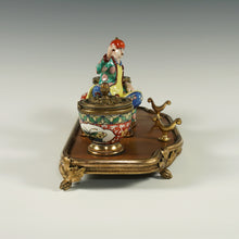 Load image into Gallery viewer, Antique French Chinoiserie Lacquer Wood & Porcelain Figurine Gilt Bronze Inkwell