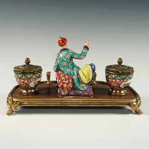 Antique French Chinoiserie Lacquer Wood & Porcelain Figurine Gilt Bronze Inkwell