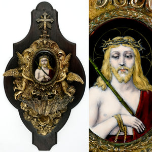 Antique French Bronze Holy Water Font, Limoges Enamel on Copper Miniature Portrait Plaque Painting of Jesus Christ