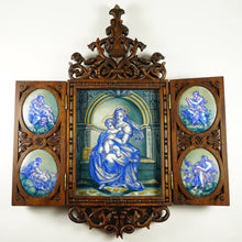 Load image into Gallery viewer, Antique Hand Painted Porcelain Portrait Plaques, Carved Wood Triptych Religious Scenes Alter Piece, Madonna & Child