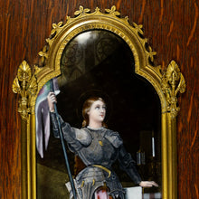 Load image into Gallery viewer, Antique French Limoges Enamel Portrait Plaque Joan of Arc, Religious Miniature Scene