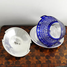 Load image into Gallery viewer, Antique French Sterling Silver & Cobalt Glass Butter Dish, Beurrier, Goat Finial