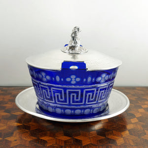 Antique French Sterling Silver & Cobalt Glass Butter Dish, Beurrier, Goat Finial