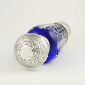 French Sterling Silver Cobalt Blue Glass Flask