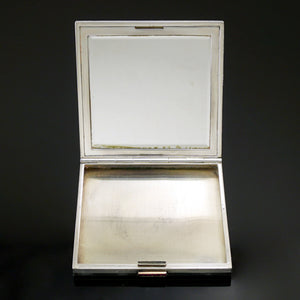 Art Deco French 18K Gold & Silver Rubies Jeweled Compact Mirror, Winter Wonderland Scene