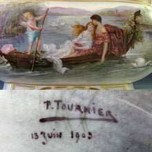 Load image into Gallery viewer, LARGE ANTIQUE FRENCH PORCELAIN JARDINIERE HAND PAINTED ROMANTIC SCENE DATED 1906
