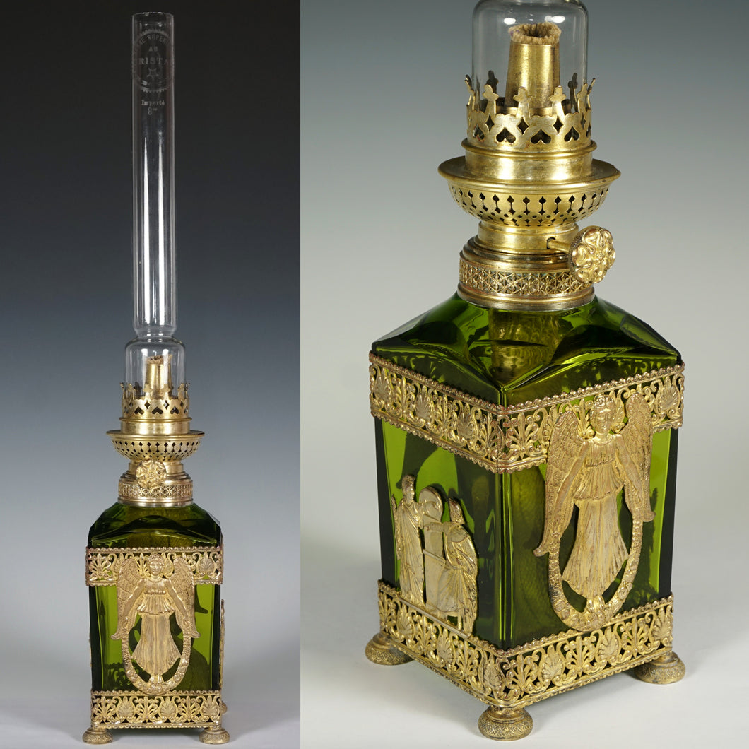 baccarat French oil lamp gilt bronze empire decoration antiques decor glass crystal green color gold