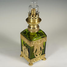 Load image into Gallery viewer, Antique Napoleon III era oil lamp, French gilt bronze ormolu crystal glass