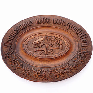 Antique Swiss Black Forest Hand Carved Wood Oval Bread Tray Platter, Emile Egger