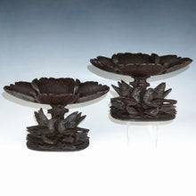 Load image into Gallery viewer, Pair Antique Black Forest Hand Carved Wood Birds & Leaves, Figural Tazzas, Footed Trays, Compote Centerpieces