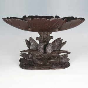 Pair Antique Black Forest Hand Carved Wood Birds & Leaves, Figural Tazzas, Footed Trays, Compote Centerpieces